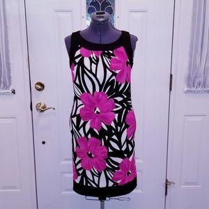 Fuchsia Pink & Black Flower Dress 8